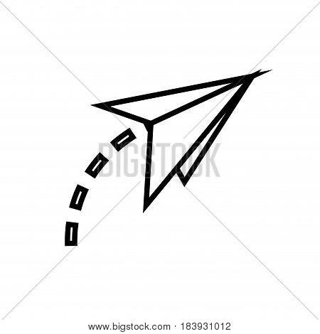 paper plane fly creativity imagination symbol outline vector illustration
