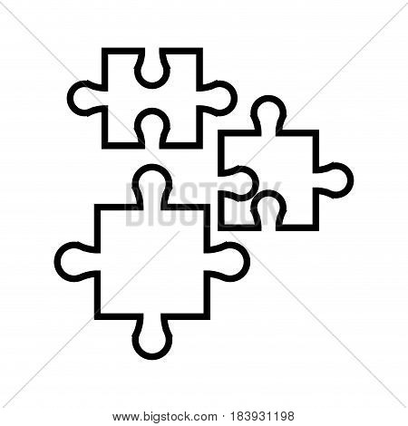 puzzle jigsaw piece business team outline vector illustration
