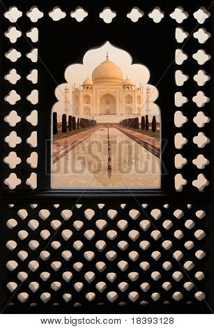 Taj Mahal with Indian arch background (with path)