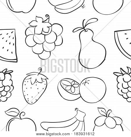 Collection stock of fruit pattern style vector art