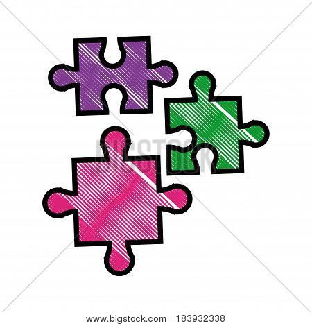 drawing puzzle pieces object shape work vector illustration