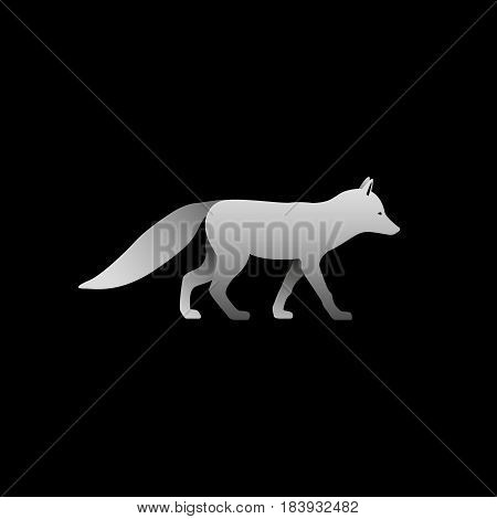 Silhouette of a gray fox standing. Fox side view profile.