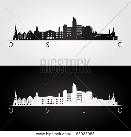 Oslo skyline and landmarks silhouette black and white design vector illustration.