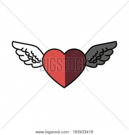 romantic heart wings cute decoration shadow vector illustration