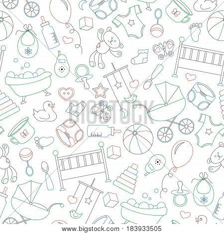 Seamless pattern on the theme of childhood and newborn babies baby accessories and toys simple contour icons drawn with colored markers on white background