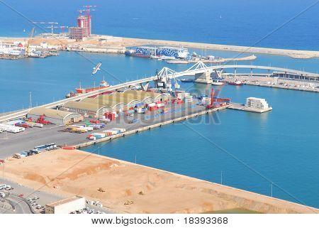 View over Barcelona harbor industry and bridge