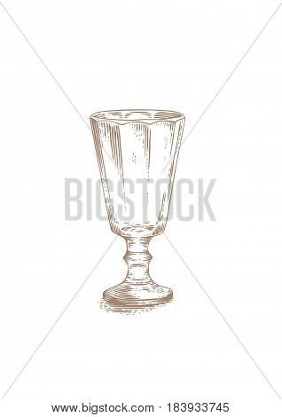 Drawing of old style empty glass for spirits