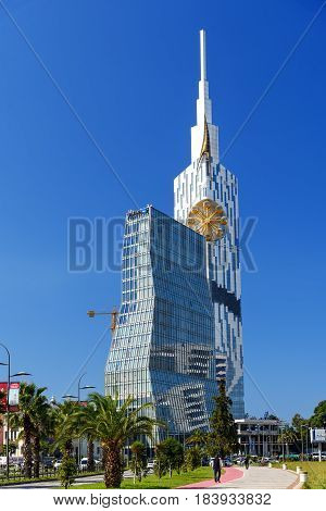 Radisson Blu Hotel And Building With Small Ferris Wheel In Batumi. Georgia