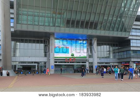 SHENZHEN CHINA - NOVEMBER 12, 2016: Unidentified people cross border from Guangzhou to Hong Kong at Shenzhen Bay Port.