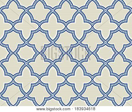 Islamic geometric seamless pattern, background in shades of blue, indigo.