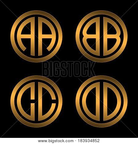 Set 1 of templates from two capital Golden letters on a black background A, B, C, D inscribed in a oval. To create logos, emblems, monograms.