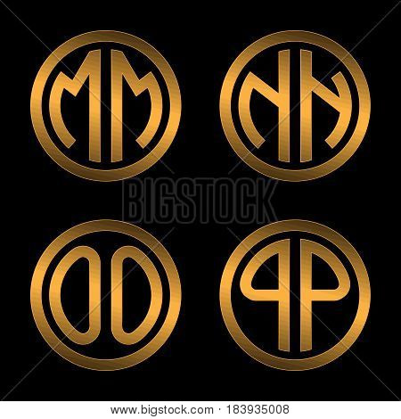Set 1 of templates from two capital Golden letters on a black background M, N, O, P inscribed in a oval. To create logos, emblems, monograms.