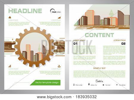 Vector Flyer, Corporate Business, Annual Report, Brochure Design And Cover Presentation With Gear An