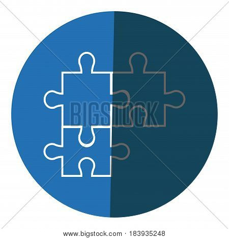 puzzle pieces object shape work icon circle vector illustration