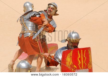 Roman soldiers during Roman show in Jerash, Jordan