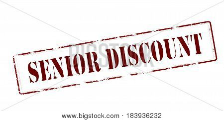 Stamp with text senior discount inside vector illustration