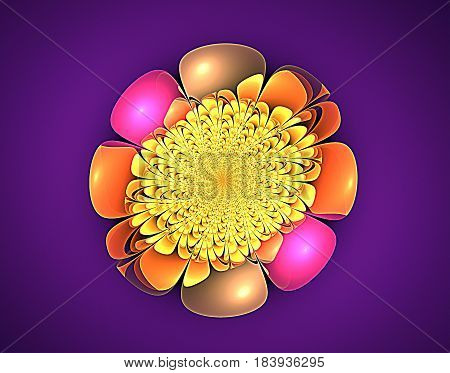 Romantic blooming decorative meditational fractal and purple background