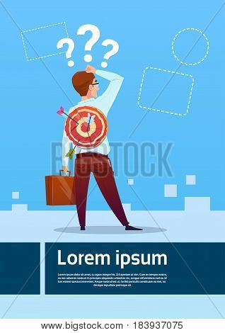 Confused Business Man Standing Back Hand Touch Head Question Mark Think Problem Solution Flat Vector Illustration