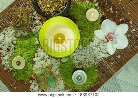 Spa Nature Products. Sea Salt, Chamomile, Soap And Aromatic Oil