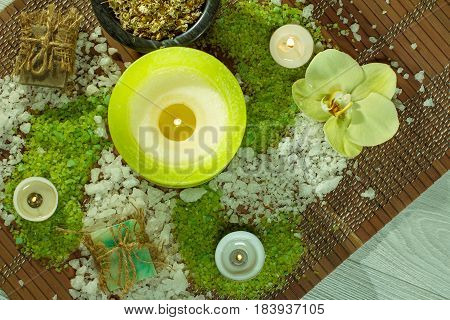 Spa Nature Products. Sea Salt, Chamomile, Soap And Aromatic Oil View From Above