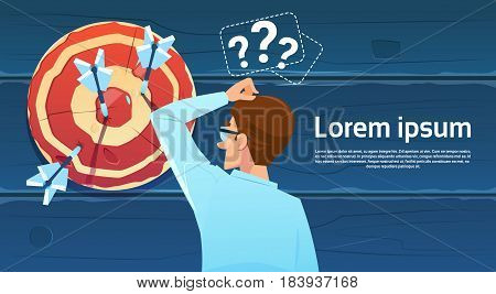 Confused Business Man Standing Back Looking At Target Aim Question Mark Think Problem Solution Flat Vector Illustration