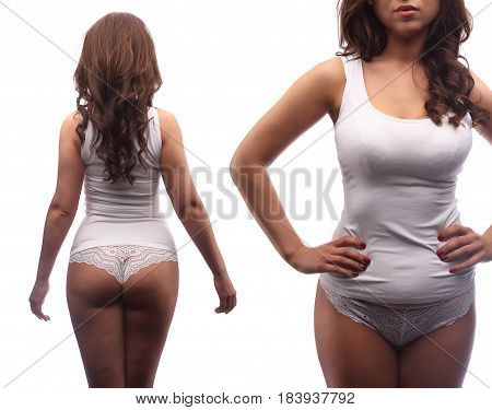 Collage Woman Standing In White Cotton Clothes Isolated On White, Unrecognizable Model, Small Overwe