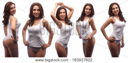 Dark Curly Hair Model In White Cotton Top And Panties Isolated On White, Collage Of Five Different P