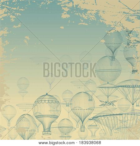 FLIGHT Aeronautics . Vintage hot air balloons floating in the sky. Grunge background. Monochrome in shades of blue