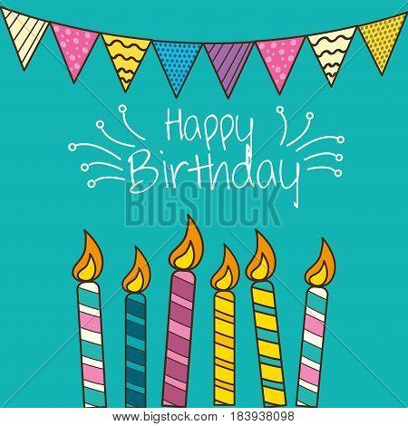 happy birthday celebration with decorations design, vector illustration