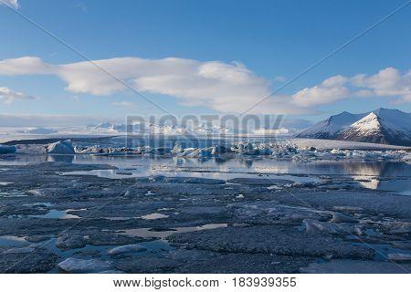 Natural winter lagoon Jakulsarlon Iceland winter season landscape background