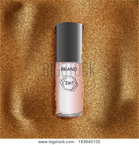 A new brand of sunblock and sand elements a dry texture for design. Vector illustration.