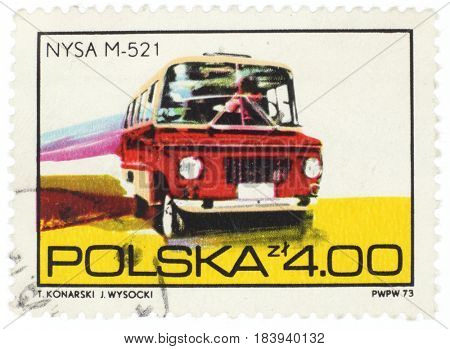 POLAND - CIRCA 1973: A stamp printed in Poland shows car NYSA M-521, from series, circa 1973.