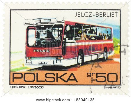 POLAND - CIRCA 1973: A stamp printed in Poland shows bus JELCZ-BERLIET, from series, circa 1973.