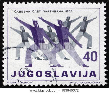 YUGOSLAVIA - CIRCA 1959: a stamp printed in Yugoslavia shows Sailors Doing Gymnastics Physical Culture Festival circa 1959