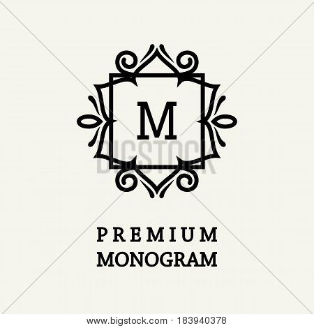 Stylish and graceful floral monogram design , Elegant line art logo , vector template