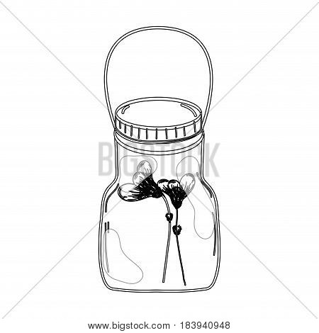 contour flowers inside jar with nature botany, vector illustration