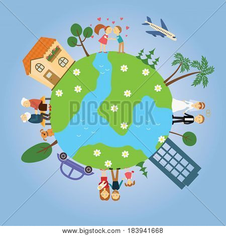 Planet Earth with painted trees, the houses, the cars, the people around him. The circle of life youth, maturity, old age. Together forever. Questions of love and fidelity. Family values. Eternal love. Vector illustration