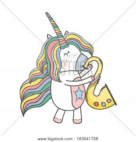 beautiful unicorn play saxophone intrument, vector illustration