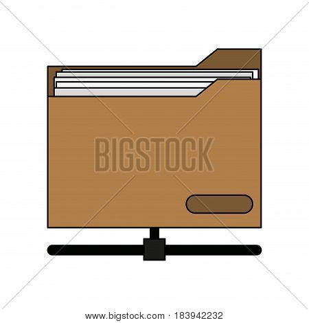colorful graphic office folder with documents and base inside vector illustration
