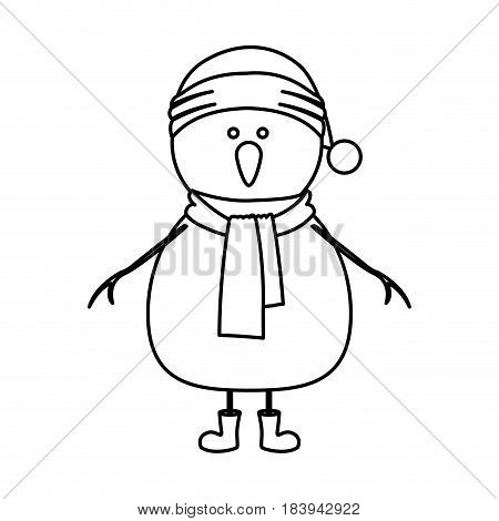 monochrome contour of snowman with cap and scarf and boots vector illustration