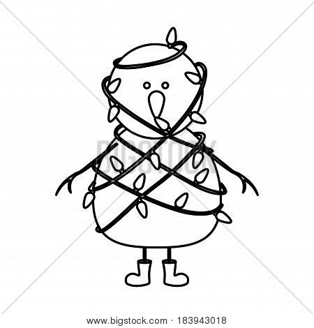 monochrome contour of snowman with boots and tangled in cord lights christmas vector illustration