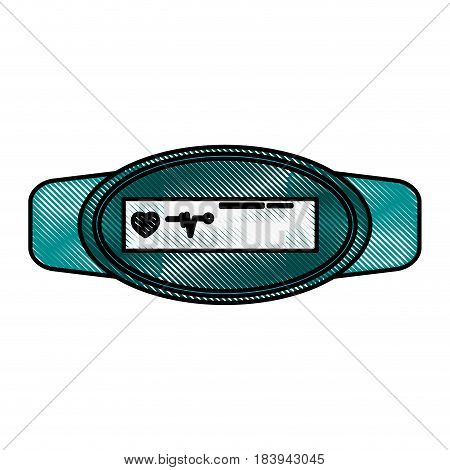 color blurred stripe fitness band hand bracelet with electronic screen vector illustration
