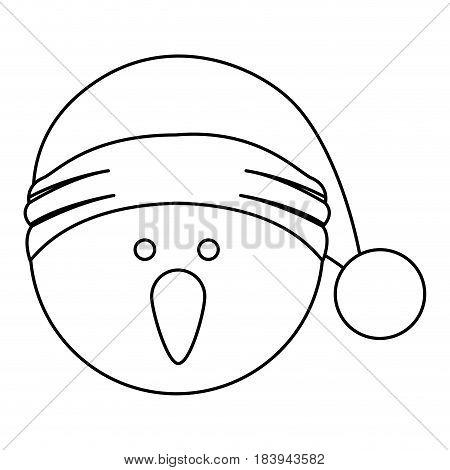 monochrome contour of snowman head with christmas hat vector illustration