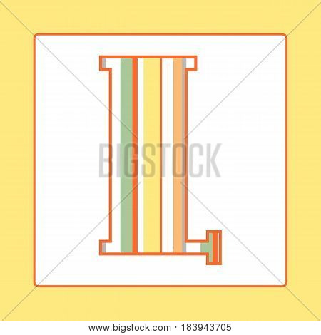 Striped colorful letter L isolated on white background. Elements for kids cards or alphabets in vintage or retro style.