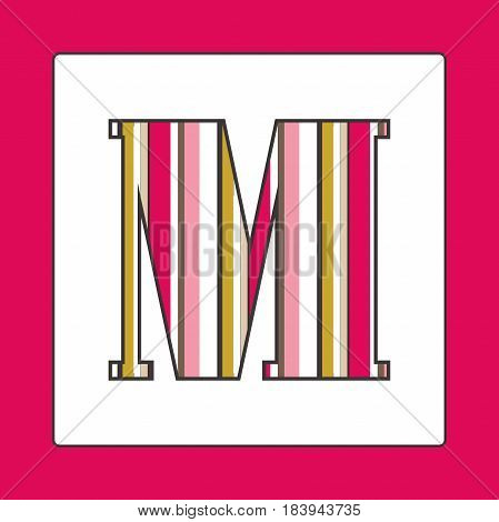 Striped colorful letter M isolated on white background. Elements for kids cards or alphabets in vintage or retro style.