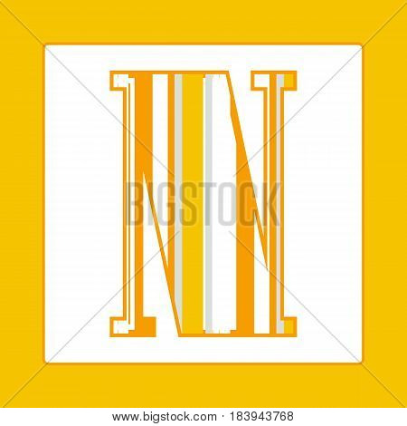 Striped colorful letter N isolated on white background. Elements for kids cards or alphabets in vintage or retro style.