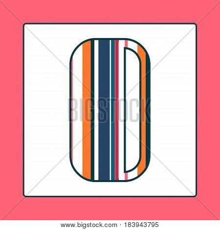 Striped colorful letter O isolated on white background. Elements for kids cards or alphabets in vintage or retro style.