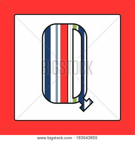 Striped colorful letter Q isolated on white background. Elements for kids cards or alphabets in vintage or retro style.
