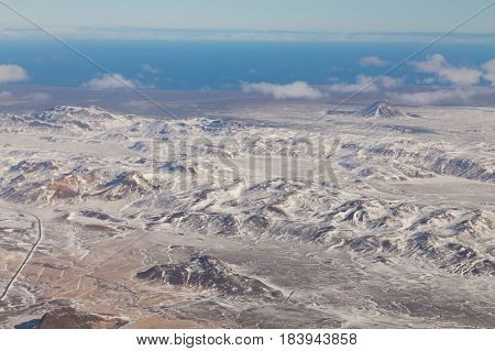 Beauty winter snow covered mountain Iceland natural landscape background