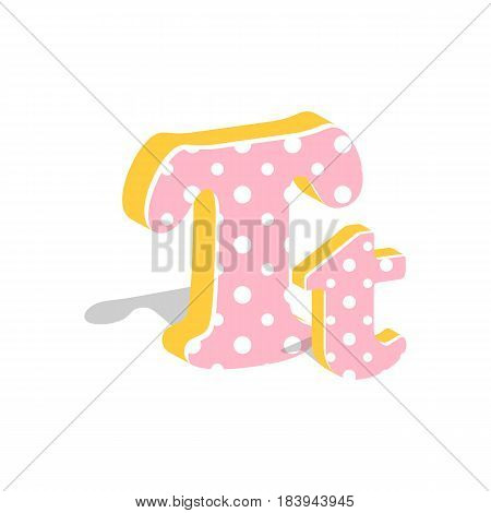 Capital and numeric cute dotted 3d letter T isolated on white background. Vector illustration. Element for design. Kids alphabet.